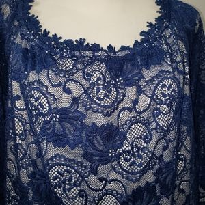 Miholl Navy Blue Lace w/ Lining Off Shoulder Dress
